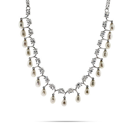 Scalloped Freshwater Pearl CZ Necklace - Clearance Final Sale