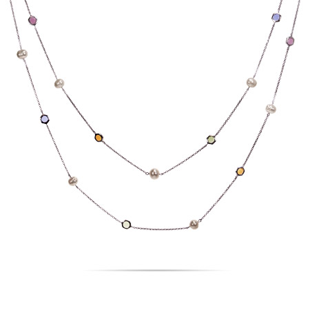 Designer Inspired Sterling Silver Multi Colored CZs by the Yard with Freshwater Pearls