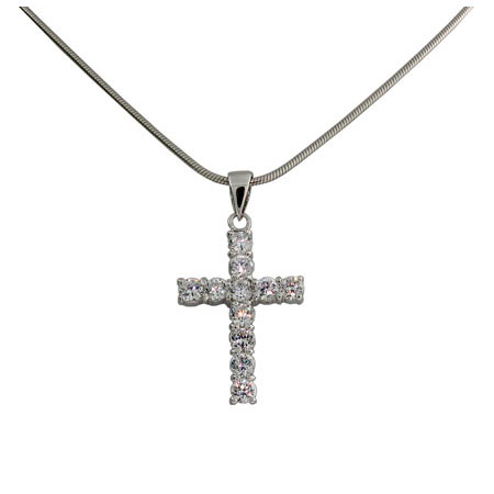 Tiffany Inspired Sterling Silver Diamond CZ Cross Pendant