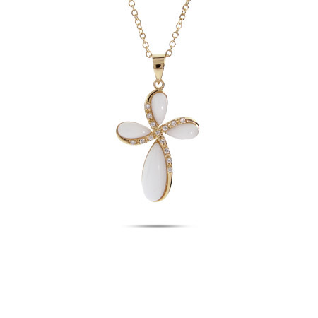 Mother of Pearl and Gold Vermeil CZ Cross Pendant
