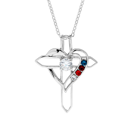 4 Stone Heart with Cross Sterling Silver Birthstone Pendant