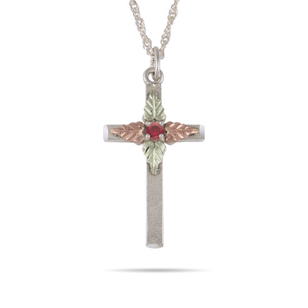 Black Hills Gold Sterling Silver Single Birthstone Cross Pendant