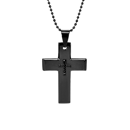 Men's Black Plate Stainless Steel Engravable Cross