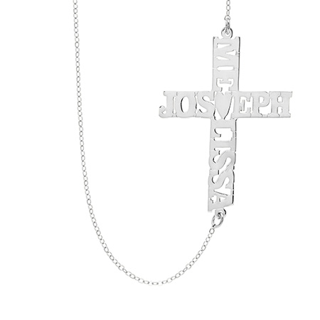 Custom Sterling Silver Sideways Couples Name Cross Necklace