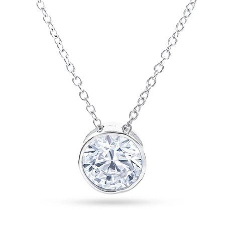 Tiffany Style Sterling Silver Necklace with Bezel Set CZ