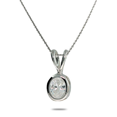 Bezel Set White Cubic Zirconia Sterling Silver Necklace