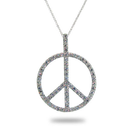 Sterling Silver Peace Sign Necklace with Pave Cubic Zirconia