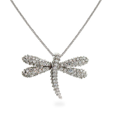 Tiffany Inspired Pave CZ Dragonfly Necklace