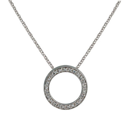 Tiffany Style 3/4 Inch O Necklace with Pave Cubic Zirconias