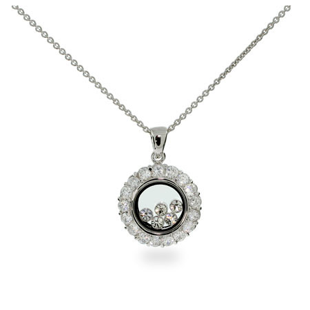 Chopard Inspired Floating Diamond CZs Circle Pendant