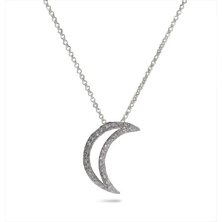 Tiffany Inspired Sterling Silver Cubic Zirconia Moon Pendant