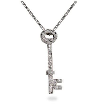 Tiffany Inspired Sterling Silver Diamond CZ Key Pendant