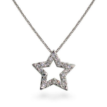 Tiffany Inspired Sterling Silver Diamond CZ Star Pendant