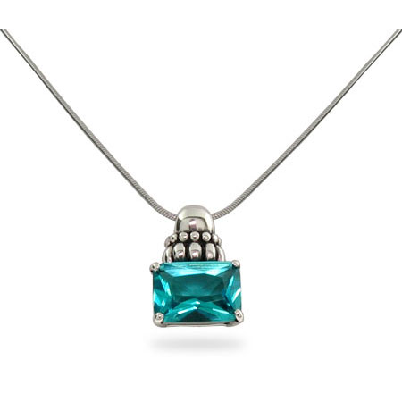 Steven Lagos Inspired Rectangle Aqua Blue Pendant