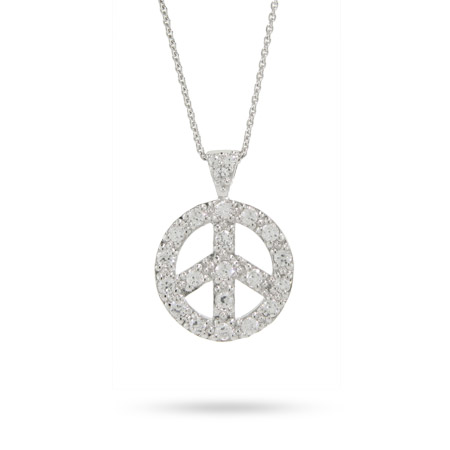 Sterling Silver Pave Cubic Zirconia Peace Sign Necklace
