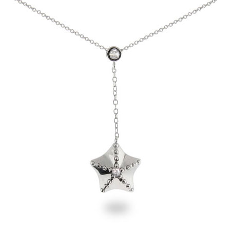 Tiffany Inspired Starfish Pendant with CZs