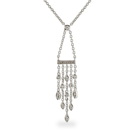 Tiffany Inspired CZ Sway Drop Necklace
