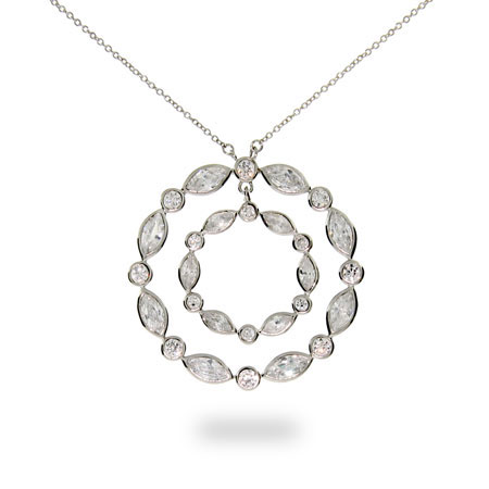 Tiffany Inspired Sway Circle CZ Necklace