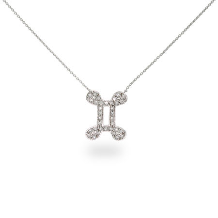 Sterling Silver and CZ Gemini Zodiac Pendant May 21 - June 21