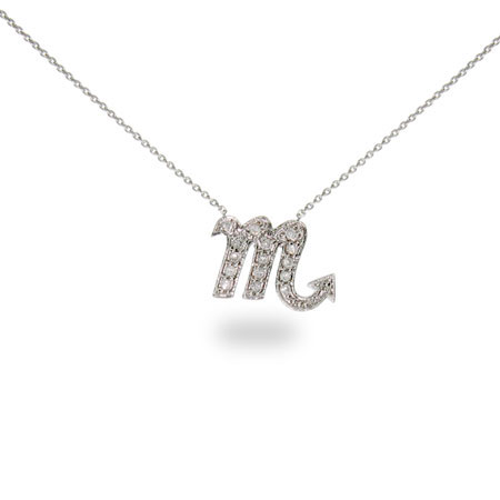 Sterling Silver and CZ Scorpio Zodiac Pendant October 23 - November 21
