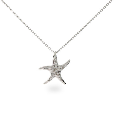 Tiffany Inspired Sterling Silver CZ Starfish Pendant