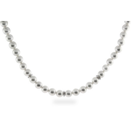 Elegant White Faux Pearl Necklace w/ CZ Accents and Disco Ball Clasp