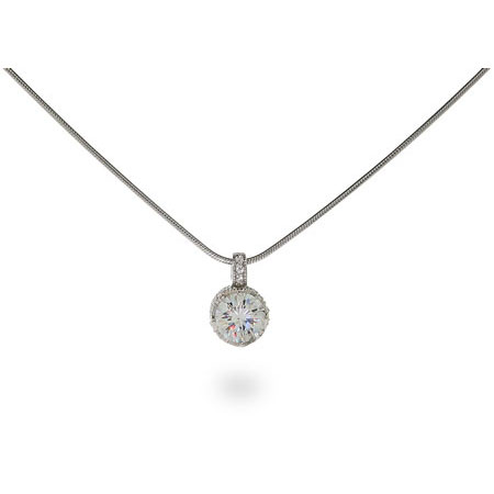 Jessica's Crown Set Diamond Star Cut CZ Solitaire Pendant