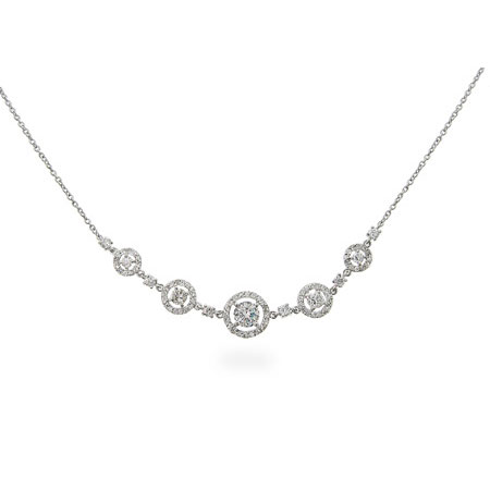 Elegant Five Circled Round Cubic Zirconia Necklace