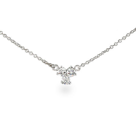 Tiffany Inspired Three Stone CZ Necklace