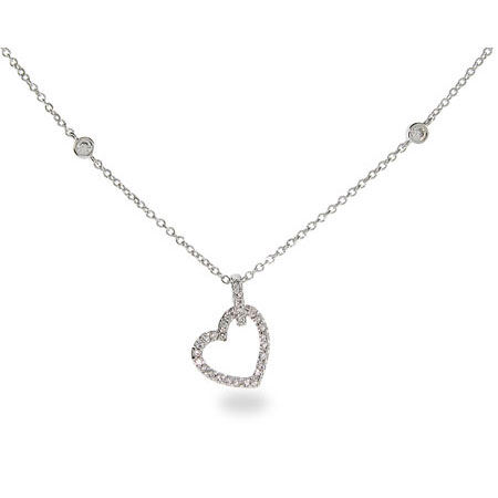 Sara's Sterling Silver Cubic Zirconia Heart with Bezel Set Chain