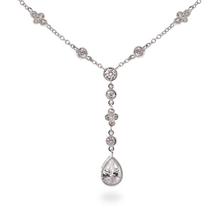 Casey's Diamond CZ Peardrop Sterling Silver Necklace