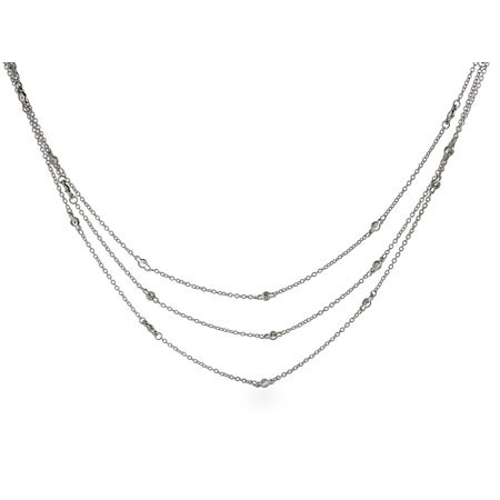 Tiffany Inspired Layered Sterling Silver CZs by the Yard Necklace