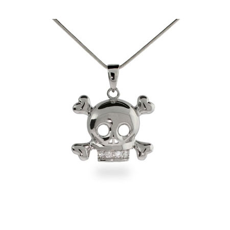 Sterling Silver CZ Skull and Crossbones Necklace