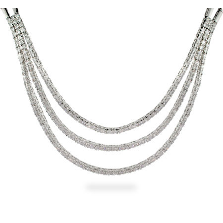 Naomi's Cubic Zirconia Layered Sterling Silver Necklace