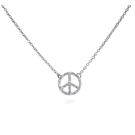 Sparkling Sterling Silver Petite CZ Peace Sign Necklace