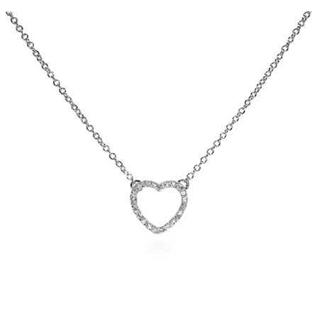 Sparkling Sterling Silver Petite CZ Heart Necklace