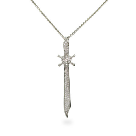 Pave Skull and Crossbones CZ Sword Sterling Silver Necklace