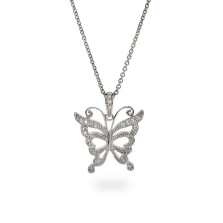 Sterling Silver Floating CZ Butterfly Necklace
