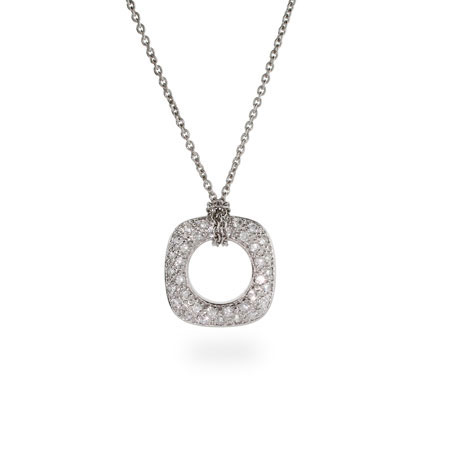 Tiffany Inspired Sterling Silver Pave CZ Cushion Pendant