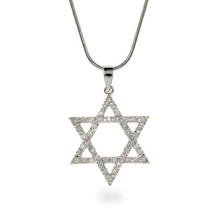 Sparkling Sterling Silver Star of David CZ Necklace