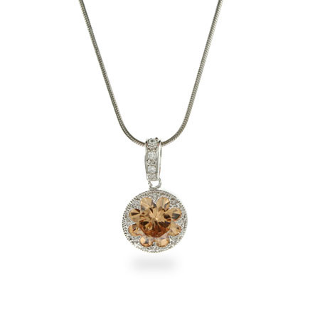 Crown Set Champagne CZ Sterling Silver Necklace