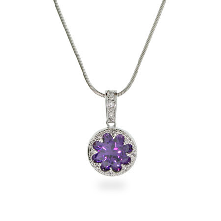 Crown Set Amethyst CZ Sterling Silver Necklace