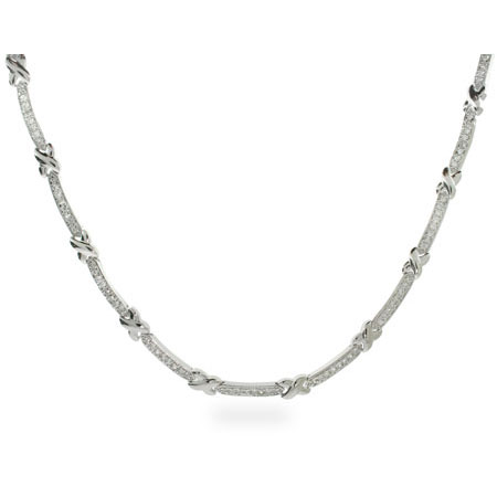Tiffany Inspired Sterling Silver X Cubic Zirconia Necklace