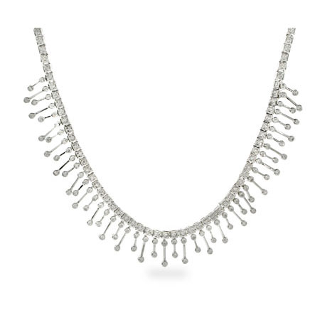 Carmen's Exquisite Sterling Silver CZ Flame Necklace