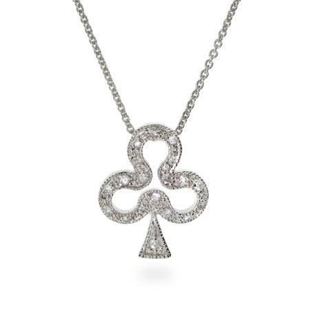 Lucky Club Sterling Silver CZ Casino Pendant