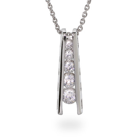 Sterling Silver CZ Ladder Style Journey Pendant