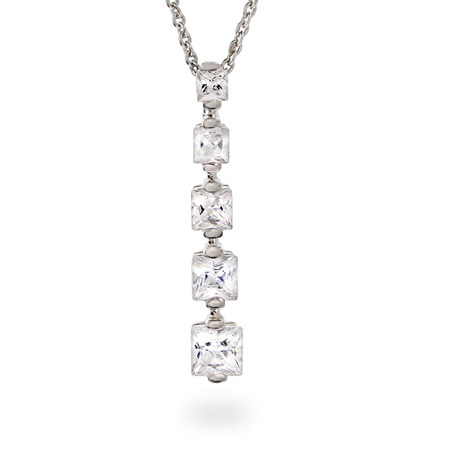 Princess Cut CZ Sterling Silver Journey Pendant