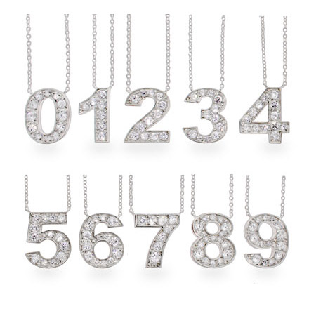 Get Lucky Sterling Silver CZ Number Necklace