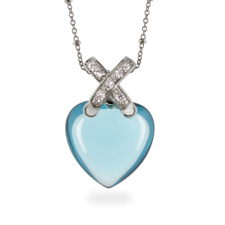 Designer Inspired Blue Topaz CZ Heart Necklace