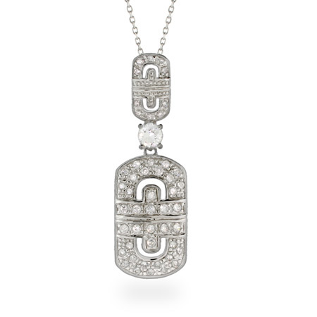 Designer Inspired CZ Greek Design Sterling Silver Necklace